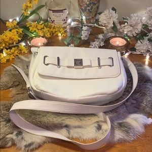 LuLu Guinness White Leather Crossbody Purse